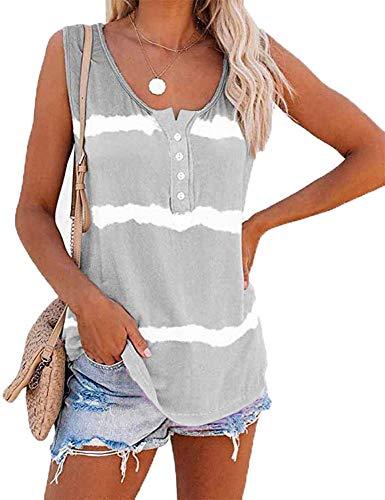Summer Street Krawatten-Druckknöpfe Rundhalsausschnitt Lose Baumwollweste T-Shirt Frauen