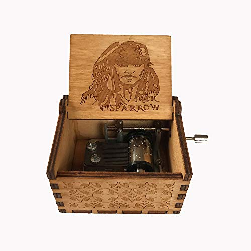 MINGZE Caja de música de Madera manivela, Pure Hand-Classical Music Box Hand-Wooden Music Box Creative Wooden Crafts Best Gifts, Variedad de Estilos (Pirates of The Caribbean(Captain Jack))