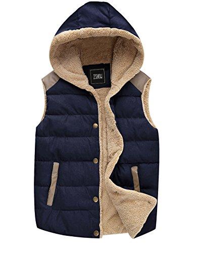 ZSHOW Women's Sleeveless Jacket Warm Padded Hooded Winter Vest,US-L,Dark Blue