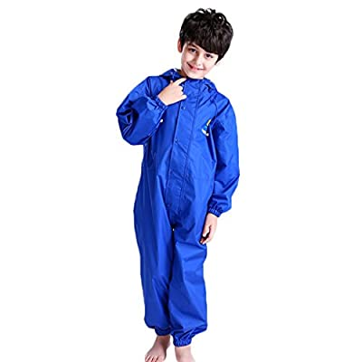 JiAmy Kids Baby One Piece Rain Suit Waterproof Coverall with Hood Jumpsuit 10-12 Years Blue