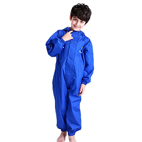JiAmy Kids Baby One Piece Rain Suit Waterproof Coverall with Hood Jumpsuit 4-5 Years Blue