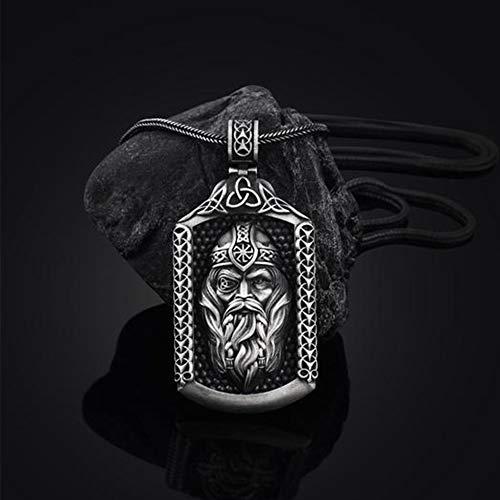YCYR Vikingo Odin Amuleto Collar, Mitología Nórdica Mjolnir Rune Escudo Colgante Joyería con Hombres Vintage 24 Pulgadas de Acero Inoxidable Foxtail Cadena