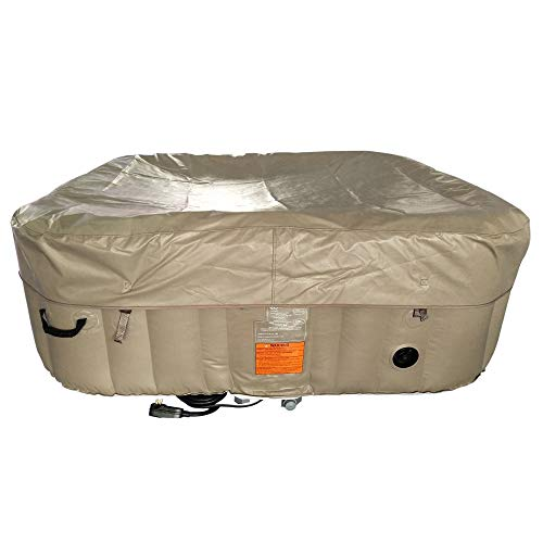 ALEKO HTISQ6BRWH Square Inflatable Hot Tub Spa with Cover, 6 Person Portable Hot Tub - 250 Gallon Brown and White