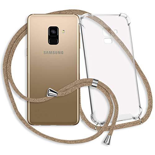 mtb more energy® Handykette kompatibel mit Samsung Galaxy A8 2018 (SM-A530, 5.6'') - beige - Smartphone Hülle zum Umhängen - Anti Shock Strong TPU Hülle