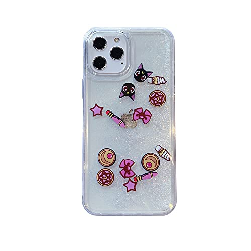DEIOKL Estuche Transparente para teléfono con Arena movediza líquida para iPhone 12 Pro Mini X XR XS 11 Pro MAX 7 8 Plus SE 2020, A, para iPhone 12 ProMax