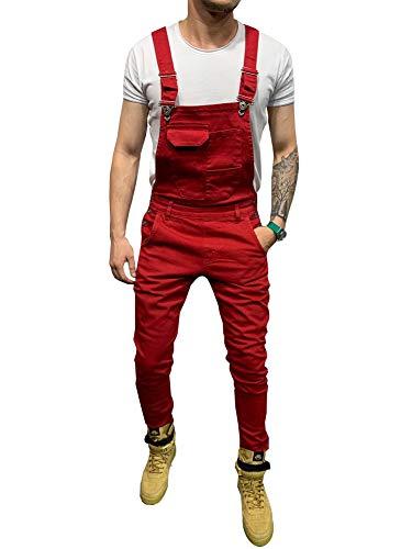 LONGBIDA Men's Denim Bib Overalls Fashion Slim Fit Jumpsuit with Pockets(Red,M)