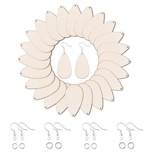 PandaHall 100pcs Pendenti in Legno a Goccia Grandi Pendenti in Legno Naturale con Ganci per Orecchini Anelli di Salto per Gioielli orecchino Fai da Te Fai Decorazioni Pendenti, Burlywood