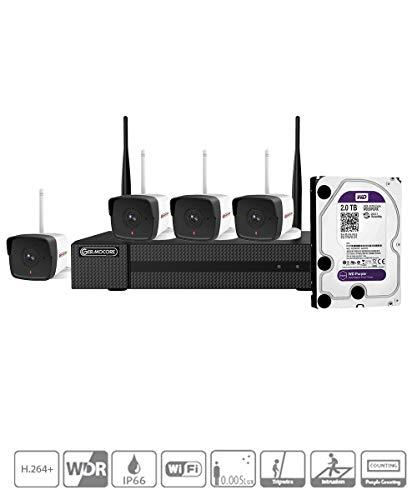 Germocore 4 Kanal Full HD 1080P WiFi Überwachungskamera Kit IK-4142B-MH/W,H.264+, mit 2TB HDD Festplatte,4kanal Wireless Kamera