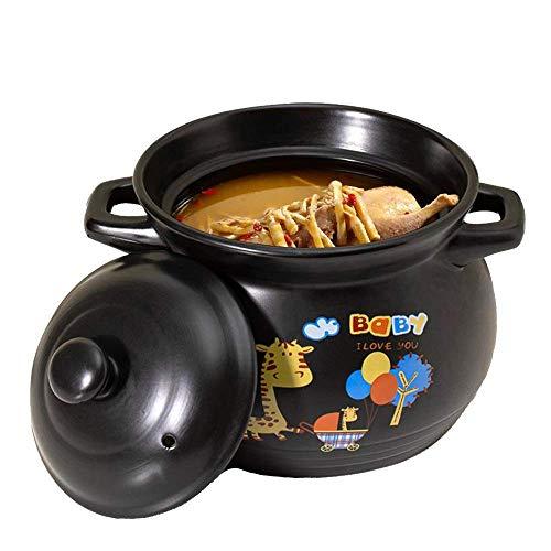 LIUSHI Terrakottatopf Keramiksuppe und Eintopf - Durchmesser 22 cm, natürlicher, antihaftbeschichteter Slow Cooker, schwarz - 6,3 l