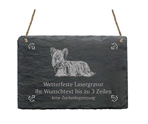 Schiefertafel « SKYE TERRIER » IHR TEXT + MOTIV - 22 x 16 cm - Schild mit Hund - Wachhund Dog