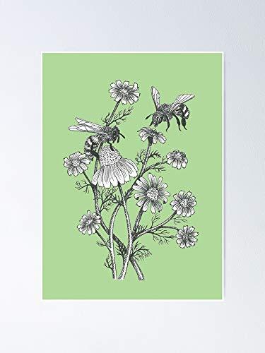 Póster de abejas y manzanilla sobre fondo verde suculenta: un arte imprimible ideal para decoración de pared, decoración de habitación para compañeros de clase, colegas, besties.