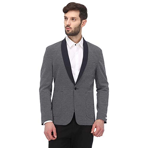 Jack & Jones Men's Shawl Collar Regular Fit Blazer (12155893-Navy Blazer_Navy Blazer_50)