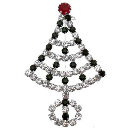 Acosta moderno ShalinIndia-Spilla a forma di albero di Natale con strass, tonalità argento, in confezione regalo