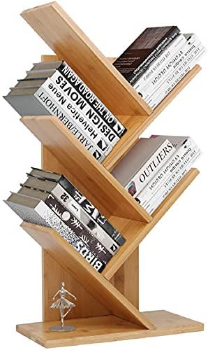 Barbieya Estantería de bambú con forma de árbol, estantería de pie de 4 niveles, estante organizador de libros para la oficina y el hogar, estante organizador de almacenamiento para CD
