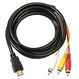 Sanfiyya HDMI a RCA 3 Cable HDMI al Adaptador del convertidor Cable RCA Cable Transmisor de una vía de transmisión de HDMI a RCA 1.5m