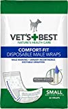 Vet'S Best Comfort Fit Disposable Male Dog Diapers | Absorbent Male Wraps with Leak Proof Fit | Small, 30Count