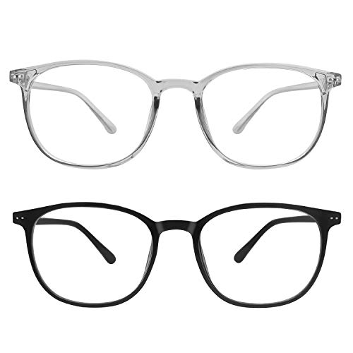 IFHTech Blue Light Blocking Glasses, TR90 Frame Lightweight,Men/Women (Black&Gray)