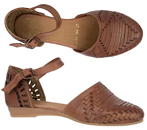 Women's 112 Cognac Authentic Leather Buckle Sandals Mexican Huaraches Closed Toe 5