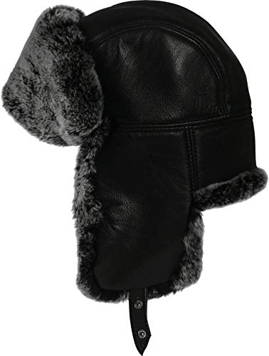 Harrys-Collection Pilotmütze aus feinstem Nappa Leder mit Kaninchen Fell, Kopfgröße:Einheitsgröße, Farben:schwarz mit grau