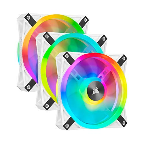 Corsair QL Series, iCUE QL120 RGB, 120mm RGB LED PWM White Fan, Triple Fan Kit with Lighting Node Core