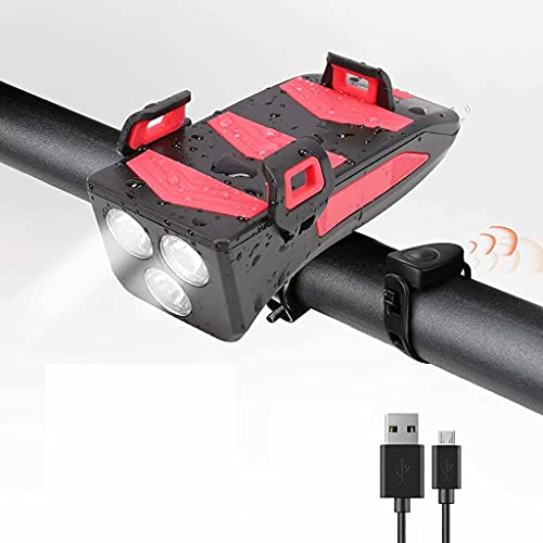 FSJD Luz de Ciclo Impermeable Recargable USB 4 en 1, con bocina, Soporte para teléfono móvil, se Puede Utilizar como Banco de energía, Rojo / 2000 miliamperios, 5,2 cm × 12,5 cm