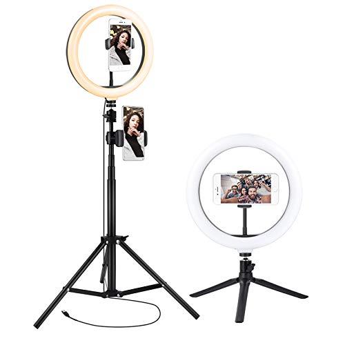 10.2'' LED Anillo de luz con Trípode Metal de Escritorio Aro de Luz 2 Trípode Soporte 1.59 m 3 Colores 10 Brillos Regulables Control Remoto Bluetooth para Tiktok Live Selfie Volg Youtube Maquillaje