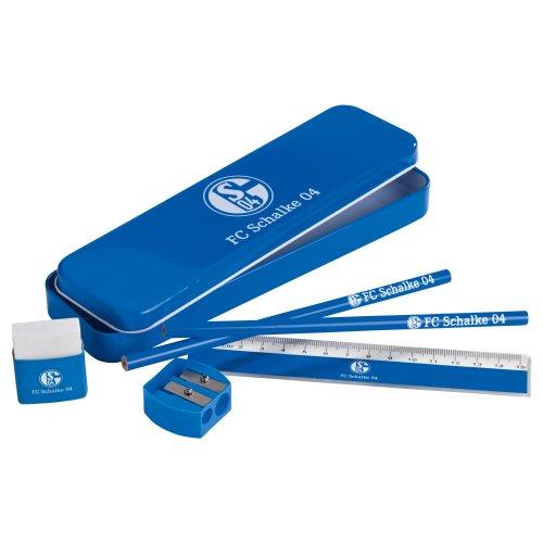 FC Schalke 04 Schulset / Schulschreibset 1x Doppelspitzer, 1x Radiergummi, 1x Lineal 15cm, 2x Bleistifte, 1x Metalletui S04