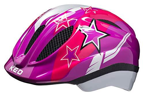 KED Meggy XS Violet Stars - 44-49 cm - inkl. RennMaxe Sicherheitsband - Fahrradhelm Skaterhelm MTB BMX Kinder Jugendliche