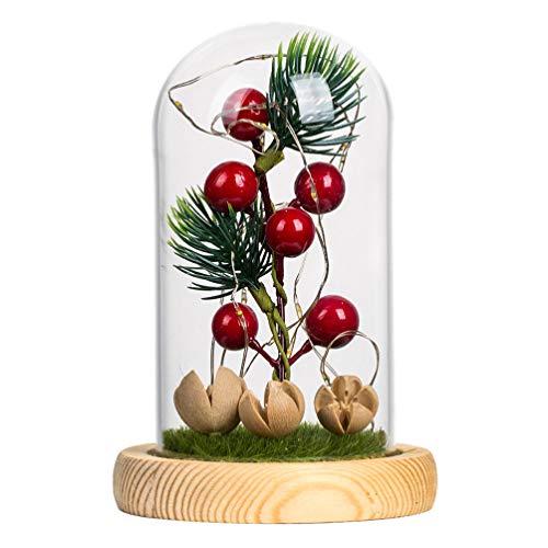 Amosfun Bayas de pino de Navidad en Cloche con luces LED temáticas con adornos navideños