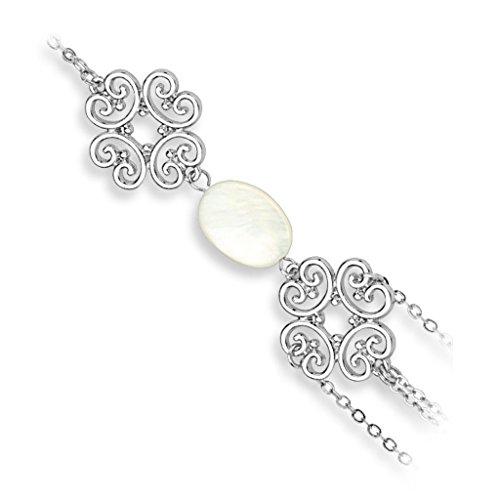Bungsa® Slave Chain Handkette Silber mit Tribal Charm und Perle (Armband Fingerring Fingerkette Handschmuck Slave- Kette Pearl Bracelet)