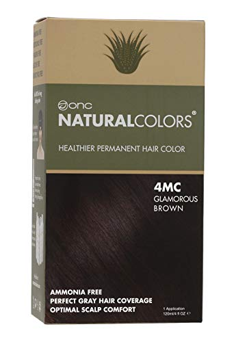 ONC NATURALCOLORS (4MC Glamorous Brown) 4 fl. oz. (120 mL) Healthier Permanent Hair Dye with Certified Organic Ingredients, Ammonia Free, Vegan Friendly, 100% Gray Coverage