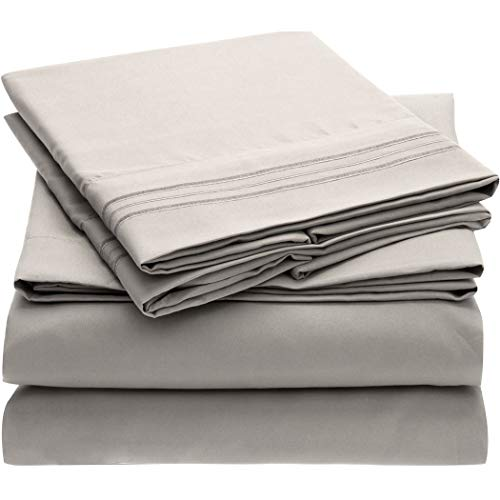Mellanni Bed Sheet Set - Brushed Microfiber 1800 Bedding - Wrinkle, Fade, Stain Resistant - 4 Piece (Queen, Light Gray)