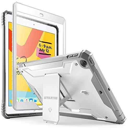 Poetic Apple iPad 10.2 Custodia, Custodia Full-Body Doppio Strato Antiurto, Proteggischermo Integrato, Serie Revolution Custodia Apple iPad 10.2 (Release 2019),Bianco/Grigio