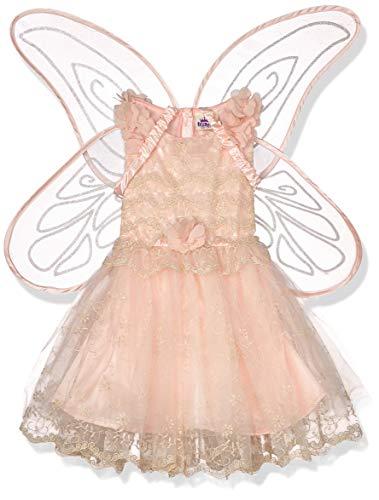 amscan- Classic Peach Fairy Costume with Detachable Glitter Wings-Age 3-4 Years-1 PC Fata Pesca con Ali Staccabili – età Anni, 9905937