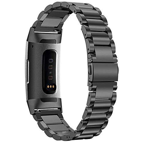 Aottom Compatibel voor Fitbit Charge 3 Band RVS Vrouwen Mannen Polsband Metalen Gesp Armband Polsbanden Smart Horloge Vervangende Band voor Fitbit Charge 3 Fitness Tracker Accessoires Zwart