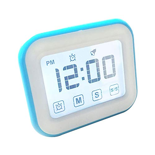 Temporizador CCI temporizador de cocina reloj despertador digital de la pantalla táctil LCD grande con luz de noche for cocinar Hornear (Negro) administrador de tiempo (Color : Blue)