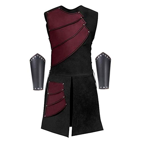 Men's Side Laces up Knight Viking Pirate Armor Long Waistcoats Vests Long Bracer Costume Set (Large(Chest 41-42), Dark Red)