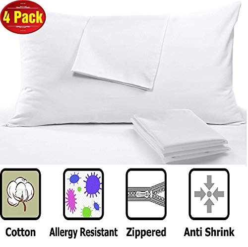 100% Cotton Anti Allergy 4 Pack Pillow Protectors King 20 x 36' High...