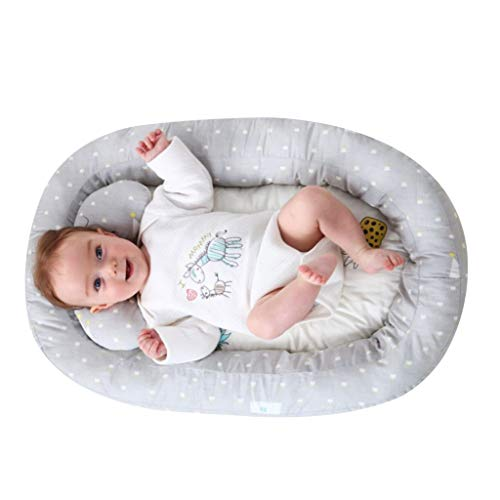 vocheer Baby Lounger Bed, Baby Bassinet Bed Portable Sleeping Crib Head Support Pillow Soft Breather Mattress for Newborn 0-8 Months