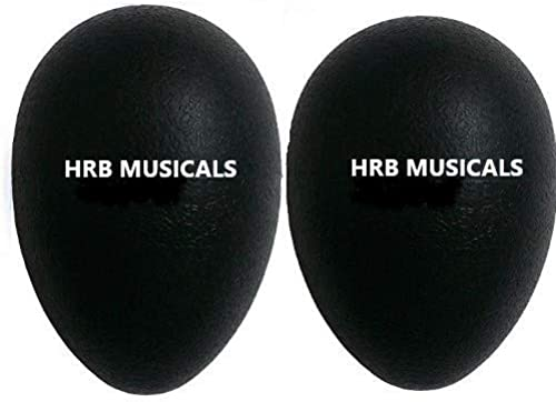 HRB Musicals 1 Pair Plastic Percussion Musical Egg Maracas Shakers pack of 2 black