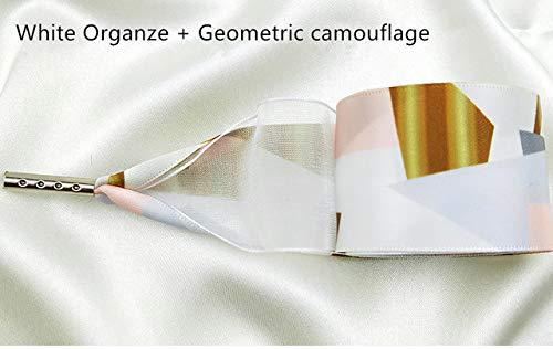AVFTHNew Geometric Camouflage Print Schnürsenkel 3cm Breite Double Satin Organza Schnürsenkel Schöne Spitze Freizeit Sportschuhe Schnürsenkel 140CM Weiß