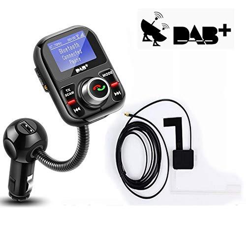 PolarLander Transmetteur FM de Voiture Récepteur Bluetooth Dab/Dab + avec antenne 3.1A Support Double de Chargeur USB pour Voiture