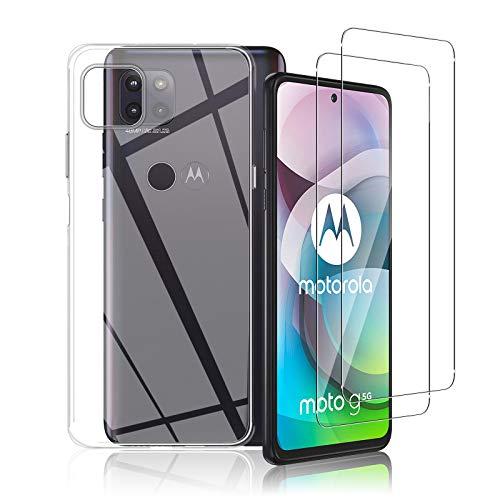 Aerku Hülle Kompatibel mit Motorola Moto G 5G mit 2 Stück Panzerglas Schutzfolie, 9H HD Folie Anti-Kratzer Bildschirmschutzfolie, Transparent Silikon TPU Schutzhülle Ultra Thin Back Cover Handyhülle