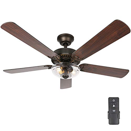 Hykolity 54 Inch Indoor Ceiling Fan with Dimmable Light Kit and Remote Control, Farmhouse Style, Reversible Blades and Motor, UL Listed for Living room, Bedroom, Basement, Kitchen, Oil-Rubbed Bronze