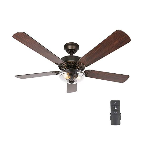 54 Inch Indoor Oiled Bronze Ceiling Fan with Dimmable Light Kit and Remote Control,...