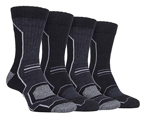 Storm Bloc - 4 Pairs Mens Cushioned Anti Blister Breathable Ribbed Hiking Socks with Arch Support (6-11 uk, SBMS034CHA)