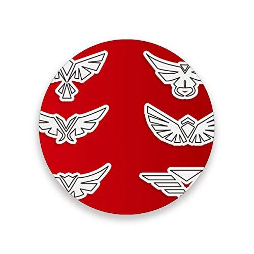 FANTAZIO Symmetrische Hawk Logo Cup Mat Coaster voor Wijnglas Thee Coaster met Varying Patronen Geschikt voor Soorten Mokken en Bekers 2 pieces set 1 exemplaar