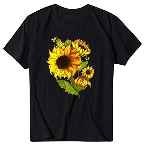 Find Bargain Mlide Womens Cute Sunflower Print T-Shirt Casual Soft Tee Tops Summer Beach Loose Round...