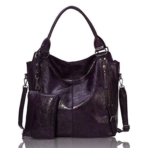 Angel Barcelo Women Tote Bag Handbags PU Leather Fashion Hobo Shoulder Bags with Adjustable Shoulder Strap Purple