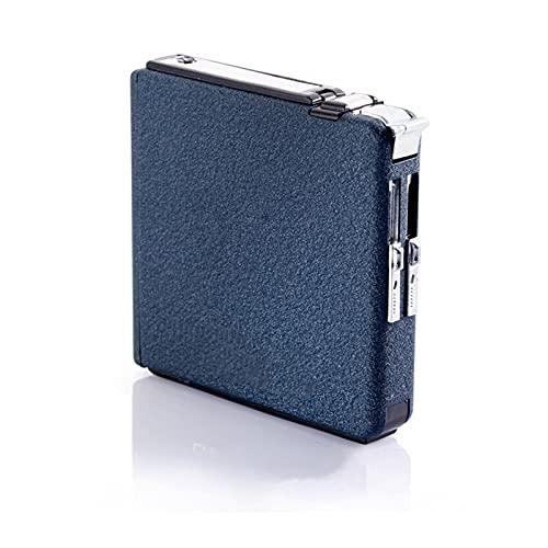 UGUTER Goldclipper Automatische Zigarettenkoffer 20pcs-Zigarettenkapazität kann Leichter Metall-Zigarettenschachtel für Männer montieren, Rauchen Küchenübereinstimmungen (Farbe : Blue)